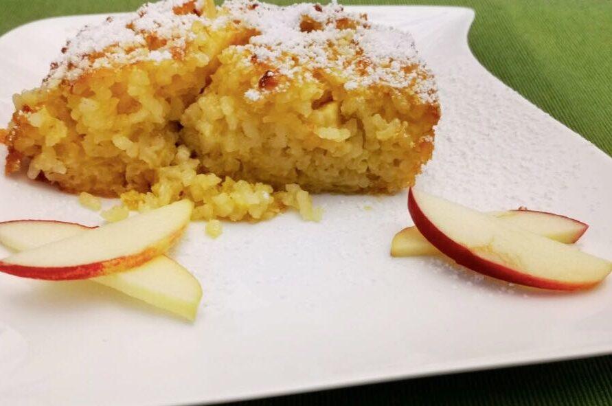 Apfel Reisauflauf angerichtet